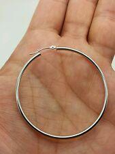 10k White Gold High Polish Tube Hoop Earrings 2mm x 50mm