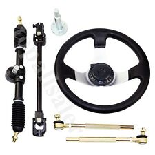 Go Cart Steering Wheel Assembly Set 110cc Go Kart Tie Rod Rack Adjustable Shaft