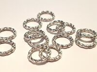 50 TIBETAN SILVER CLOSED TEXTURED JUMP RING 8MM CRAFTS JEWELLERY MAKING