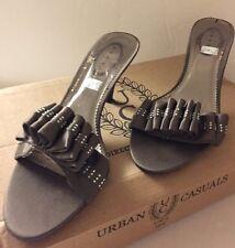 DEBUT Khaki Greyish Diamante Mid Heel Slip On Mules Sandals UK 6 EU 39