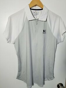 1 NWT PETER MILLAR WOMEN'S POLO, SIZE: LARGE, COLOR: BR/WH (J194)