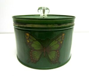 Vintage Drip Grind Coffee Can Sewing Tin Canister Green Butterfly Glass handle
