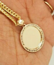 10K Yellow Gold 0.10 CT Picture Pendant Small Round Circle Disc 2 g 1 inch