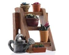 NEW  FAIRY GARDEN MINIATURE - Fairy Garden plant rack with plants & watering Can