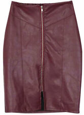Women's Genuine Lambskin Leather Skirt, Real Plus Size Red Long Leather Skirt