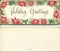 VINTAGE CHRISTMAS POINSETTIA FLOWERS HOLLY GOLD HOLIDAY GREETINGS GREETING CARD