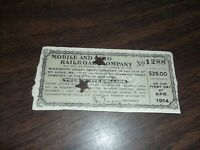 APRIL 1914 MOBILE AND OHIO RAILROAD COMPANY BOND INTEREST COUPON