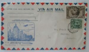 1931 Canada First Flight Cover Victoria to Vancouver #C2 #163 Airmail Envelope F