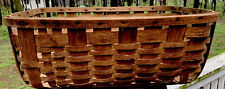 Antique Primitive Bent Wood Splint Runners Basket Cottage Laundry Gathering Big