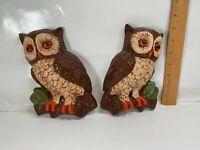 2 Vintage Chalkware? / Plaster? Brown Owls Wallhanging