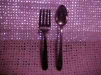 Vintage Lot of 2 OLD CHILDREN'S SPOON AND FORK, NOT MATCHING DESIGNS