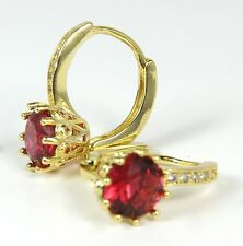 Women's 18 Carat Gold plated Red Cubic Zircon Small Hoop Earrings Jewellery