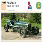 Sunbeam Grand Prix 2 Litre Course 4 Cyl. 1922 GB/UK CAR VOITURE CARTE CARD FICHE