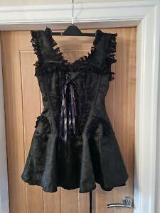 Women's Black Gothic Lace Up Corset Dress Camden Market Size S Small BNWOT