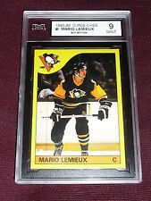 1985-86 OPC # I Mario Lemieux Rookie BOX BOTTOM Graded KSA 9 MINT RARE RC L@@K!!
