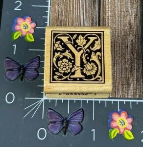 All Night Media Framed Flourish Y Letter Rubber Stamp Wood #G93