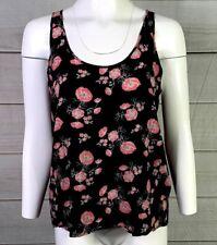 Rubbish Women's Black Floral Sleeveless Blouse Top Size Medium EUC A0705