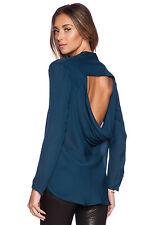 Haute Hippie Cowl Back Long Sleeve Silk Blouse Top  Size S