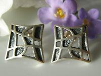 Designer Ohrringe Ohrstecker 925° Silber sehr edel und ausgefallen um 1970 O860