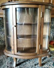 Vintage Oak Table Top Small Curio Cabinet Wood and Glass