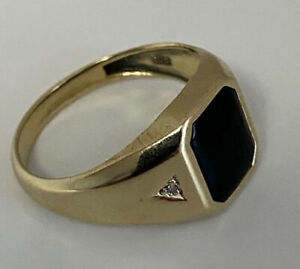 10k Yellow Gold With Opyx  Men's  Ring