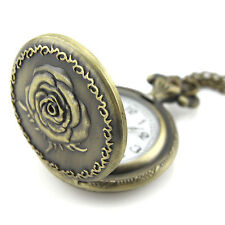 Brass Pendant Locket Watch Necklace - Quartz Clock - Rose Flower Front