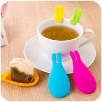 2Pcs Silicone Gel Rabbit Shape Tea Bag Infuser Holder Random  Color Mug Gift