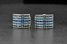 925 Sterling Silver Art Deco Round Sapphire Blue Topaz Stud earrings  Earrings