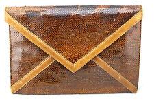 Ronora Vintage 60's Brown Python Snakeskin Envelope Large Clutch Shoulder Bag