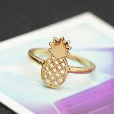 Cute Pineapple Ring Golden Plated Personality Rings Jewelry Diameter 17MM ^