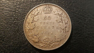1934 CANADA SILVER HALF DOLLAR 50 Cent Coin CIRCULATED