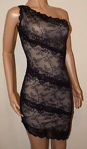 VICKY MARTIN black nude lace fitted one shoulder mini dress 10 12 BNWT wedding