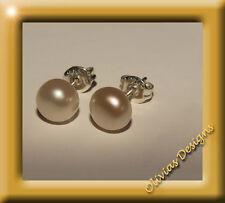 Silber 925 Ohrringe, Ohrstecker, Süsswasserperlen, ca 7mm AAA