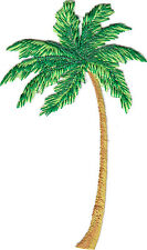 PALM TREE w/METALLIC ACCENTS - TROPICAL - BEACH - IRON ON EMBROIDERED PATCH