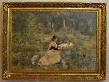 "LAHAYE Alexis (1850-1914) ""Arlésienne et son enfant"" Nîmes Avignon Provence"