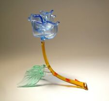 "Blown Glass ""Murano"" Figurine Flower BLUE Rose Open"