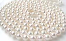 """40""""8-9mm natural south sea white round pearl necklace AAA808"""