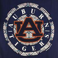 Auburn Tigers T-Shirt Circle Logo Pattern Comfort Colors Tee Color Navy - New