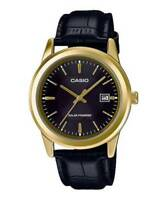 Casio MTP-VS01GL-1A2 Men's Solar Gold Tone Leather Date Watch WATER RESISTANT