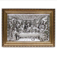Vintage The LAST SUPPER in RELIEF REPOUSSE CHASED 3D Painting Plaque