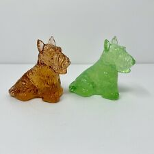 Vintage Boyd Duke The Scottie Dog Figurine Art Glass Honey Comb and Key Lime