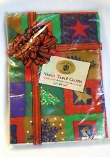 """Christmas Tablecloth Vinyl Flannel Back Snowflakes Gold Stars Trees 52 x 90"""""""