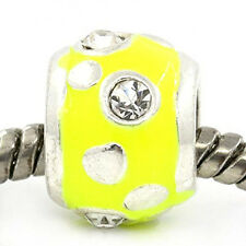 European Charm Beads Column Silver Plated Clear Rhinestone Enamel yellow