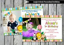 JUNGLE ANIMALS SAFARI 1ST FIRST BIRTHDAY PARTY SUPPLIES PERSONALISED INVITATIONS