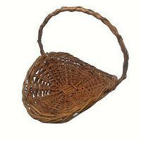 "Wicker Woven Basket Flower Garden Veggies Herb Gathering Basket 12"" long Vtg"