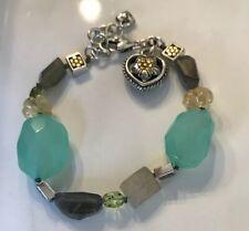 "Brighton American Hero heart Charm genuine stone retired bracelet 8"" Adjustable"