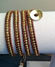 AUTHENTIC ChanLuu GOLD Plated Sterling NUGGETS BR Leather 5X Wrap Bracelet CL50B