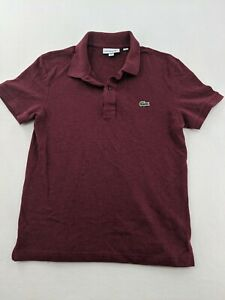 Lacoste Slim Fit Red Polo Shirt Solid Size Men's FR-3 US-S Small Short Sleeve
