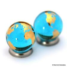 2 x 15mm 22ct Gold Blue Earth Globe Glass Marbles - Jewellery Making Stones
