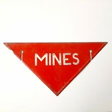 Vintage Painted Tin Sign Mines WWII Danger caution land mines